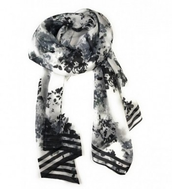 Z&HTrends Womens 100% Mulberry Silk Scarf - Black Abstract Flowers - CU187W92KHW