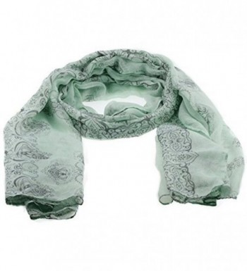 Thin Soft Chinese Ornament Flower Design Silky Delicate Scarf for Girls - Green - CJ11POM306H