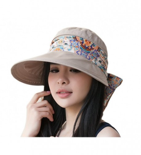 Roll Up Wide Brim Sun Visor UPF 50+ UV Protection Sun Hat with Neck Protector - Khaki - CH17YYXA5IL