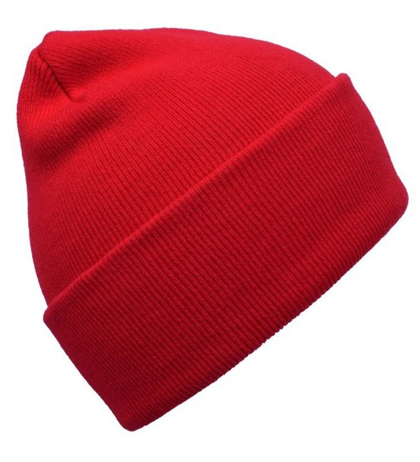 BXI Unisex Beanie Cap Knitted Warm Solid Color Winter Watch Hat - Red - C912LSC6QHV