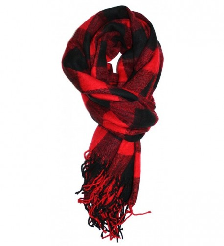 Ted and Jack - Jack's Classic Oversized Cashmere Feel Buffalo Check Wrap/Scarf - Black/Red - CU187U8CMR5