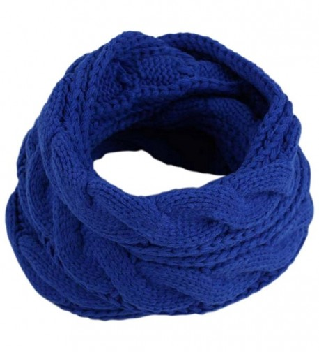 JOYEBUY Women Lady Thick Wool Knit Scarf Warm Winter Infinity Circle Loop Scarf Valentine Gift - Royal Blue - CG187KD8Q3U