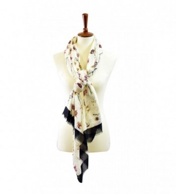 Floral Print Scarf - Ivory - CY18687OQZS