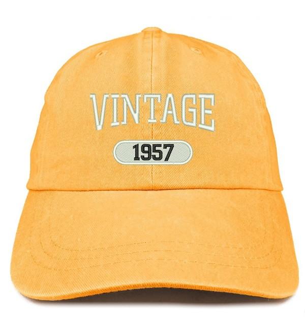 Trendy Apparel Shop Vintage 1957 Embroidered 61st Birthday Soft Crown Washed Cotton Cap - Mango - CS180WUDWZR