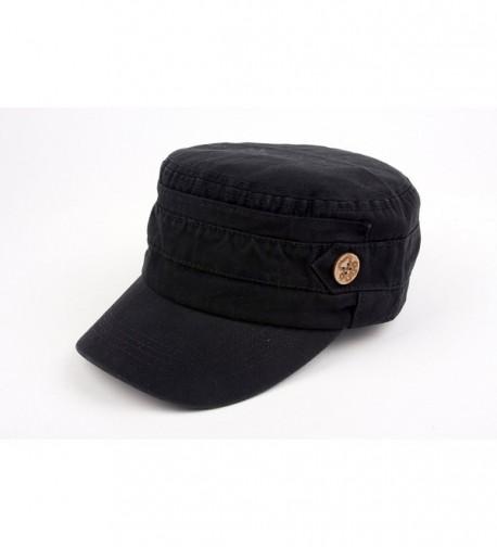 Unisex 100% Cotton Washable Cadet Cap 176HC - Black - CC11NZHC2E9