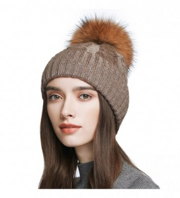 Women's Wool Knitted Pom Pom Beanie Cap Winter Crochet Cotton Hat - Brown - CG1876T482R