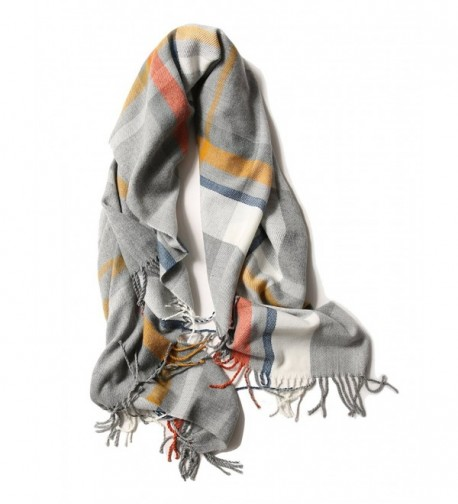 Wool Scarf Shawl Oversize Blanket Cashmere Feel Scarves And Wraps For Men And Women - Grey Orange Plaid - CK1880NZI2I