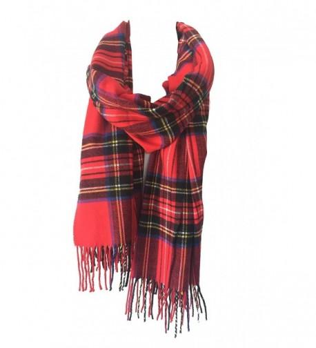 DRY77 Blanket Oversized Tartan Long Cashmere Feel Scarf Wrap Shawl Pashmina Women Men - Red - C912N0HBMNM