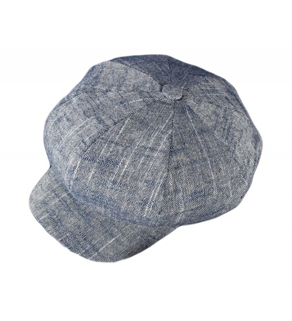Qunson Womens Lightweight Cotton Linen Newsboy Cabbie Hat Cap - Navy - CQ12MX0KV9F