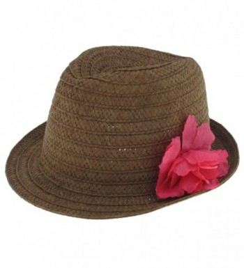 Capelli New York Solid Wide Paper Trilby Hat With Flower On The Side - Brown - C211CP18UQP