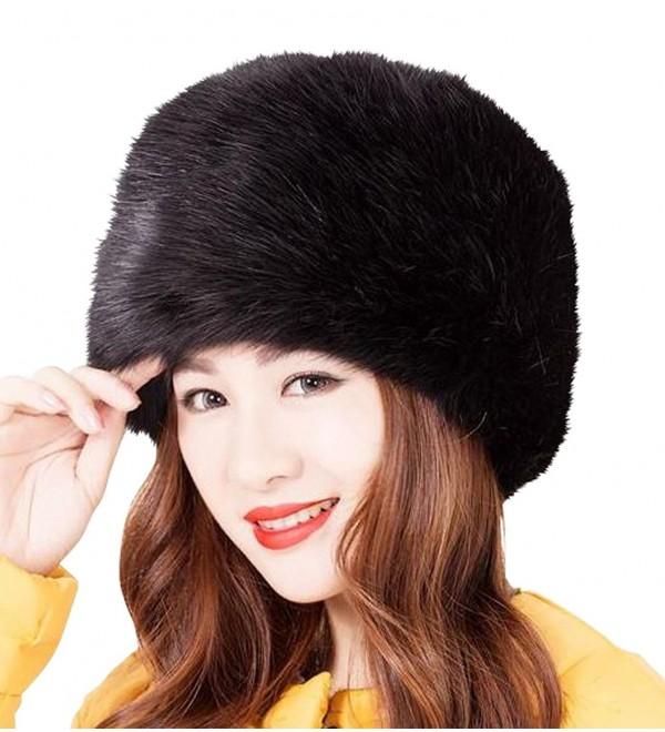 Faux Fur Headband for Women Winter Earwarmer Earmuff Hat Ski - Black - CG12JPOZKP3