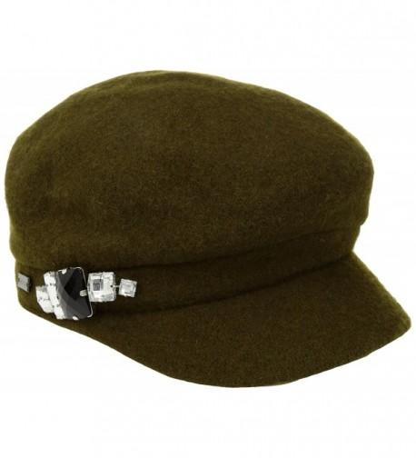 Betmar Women's Rhinstone Cap Wool with Sparkling Trim - Olive - CW17YZ4I4U5