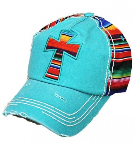 SW Adjustable Aztec Chevron Serape Multi Color Cross Womens Ladies Hat Cap Jp - Turquoise Blue - CO12NESFX95