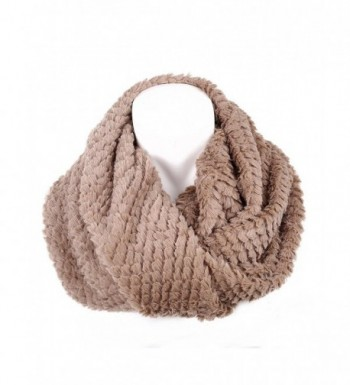 Women's Faux Fur Infinity Scarf - Warm Lightweight Loop Circle Scarves Neck warmer for Ladies and Girls - Khaki - C712LLCKIB3