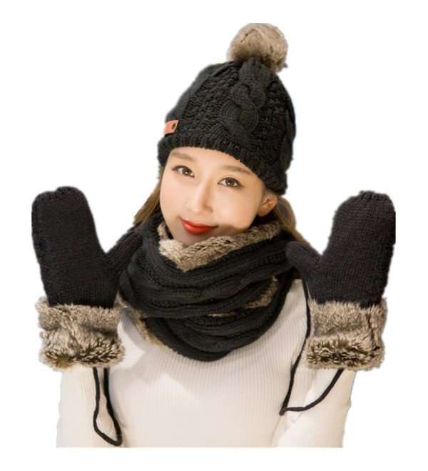 Lucky Beth Winter Warm Women Wool Hat/Scarf/Gloves Set Knitted Hat Scarf Mitten - Black Two-circle Scarf - CP1870IQ4AO