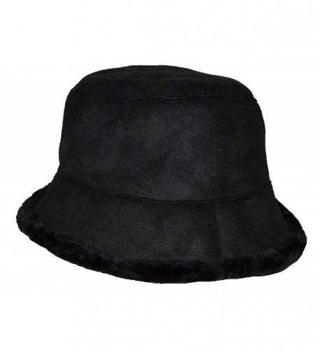 Angela & William Women's Suede Feel Bucket Hat - Black - CV12NT7YQHF