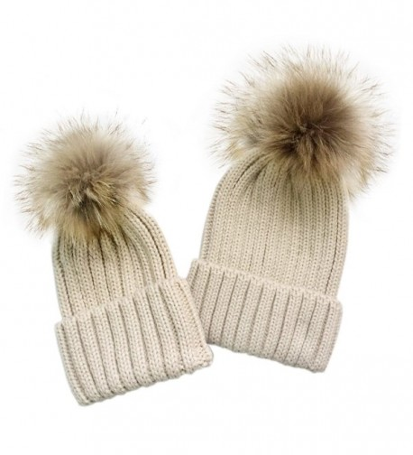 YC FASHION 2PC Parent-Child Real Raccoon Fur Pom Pom Knit Hat Stretchy Mother Baby Beanie Hat - Beige - C81884H9TGH