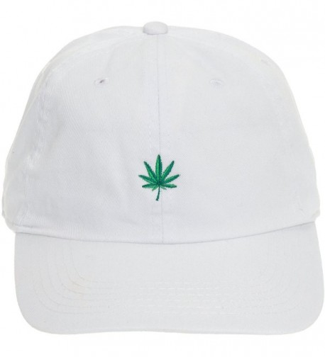 Newhattan Weed Leaf Dad Hat - 100% Cotton Adjustable Sports Cap - White - CS12O86IAUO
