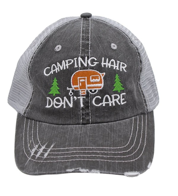 Orange Camping Hair Don't Care Women Embroidered Trucker Style Cap Hat - CR182IA8NEK