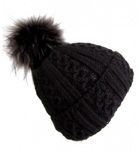 Frost Hats Winter Women Asian Raccoon Pom Beanie Hat M-2013-340RN - Black - CE11KBGFRUD
