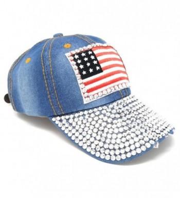 USA Washed Denim Baseball Hat- Rhinestone Studded American Flag Adjustable Cap - Light Wash - C0122K4AEZZ