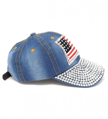 USA Studded Baseball Adjustable American in Women's Baseball Caps