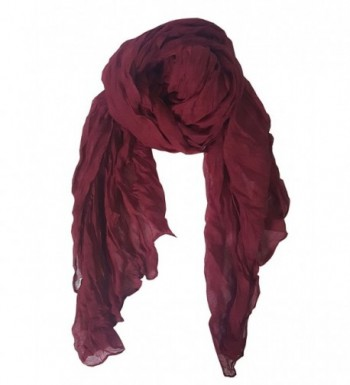 SoLine Vintage Solid Color Wrinkle Scarves Shawl Blanket Warp lightweight Large Scarf - Wr_wine - C21879I25M5