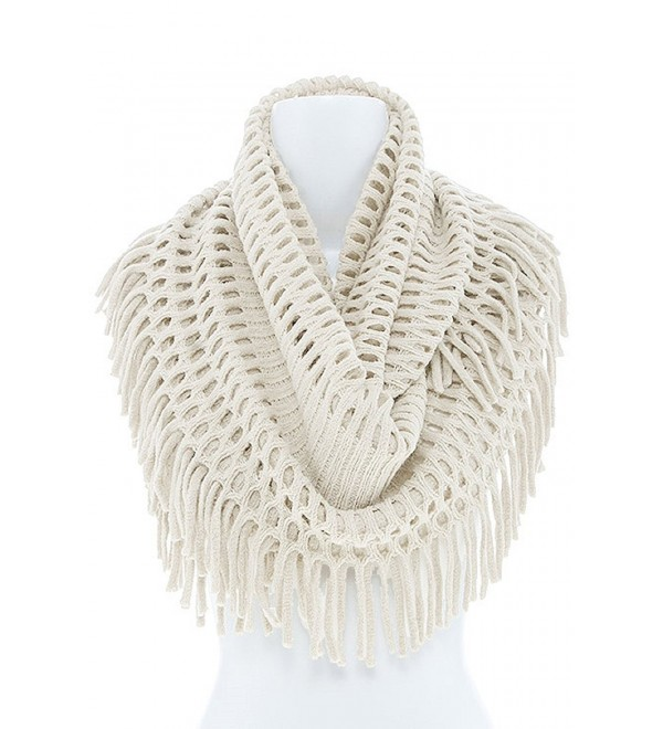 Women's Winter Warm Knit Infinity Fringed Scarf- Multiple Colors KSF1415 - Ivory - CA1874XZKDE
