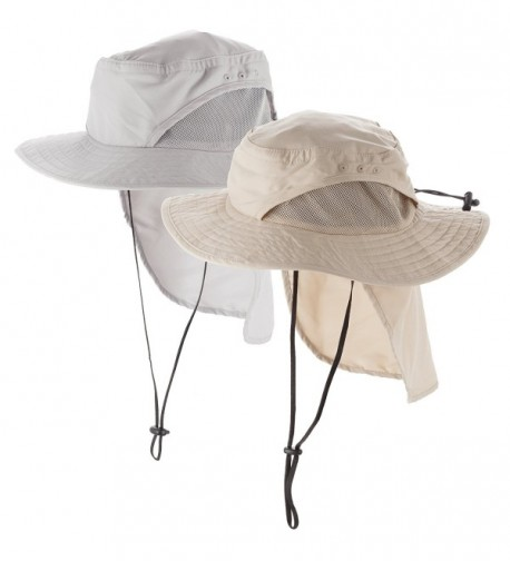 Boonie Men's and Women's Sun Hat With Ventilation and Foldable Neck Flap - Khaki - C6184WZIU3G
